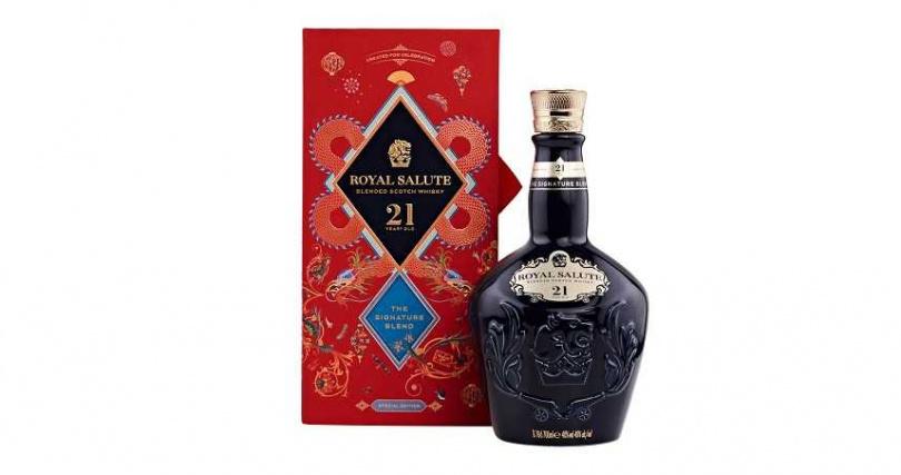 皇家禮炮21年威士忌鴻運雙龍限定版禮盒。
