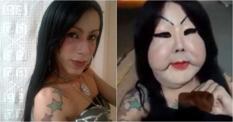 奧莉維亞是一名變性女,整形前她看起來清秀,但整完後臉卻變成「鬼面具」。(圖/翻攝自news-24.fr+sbt.com.br )