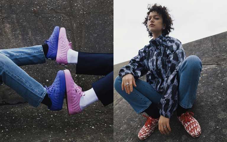 同系列也推出服飾配件,以黑白抽象豹紋為圖案設計的拉鍊外套、休閒長褲及花色手提袋。(圖/Vans Taiwan)