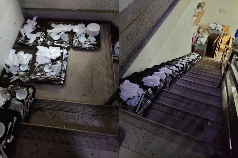 客人用的餐具竟直接擺放在骯髒的樓梯間。(合成圖/Dcard)