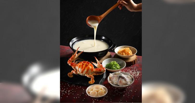 毋米粥煮花蟹以花蟹煮粥,精華都煮進粥裡,吃得到滿滿的甘美海味。(圖/Mega 50、喜來登提供)