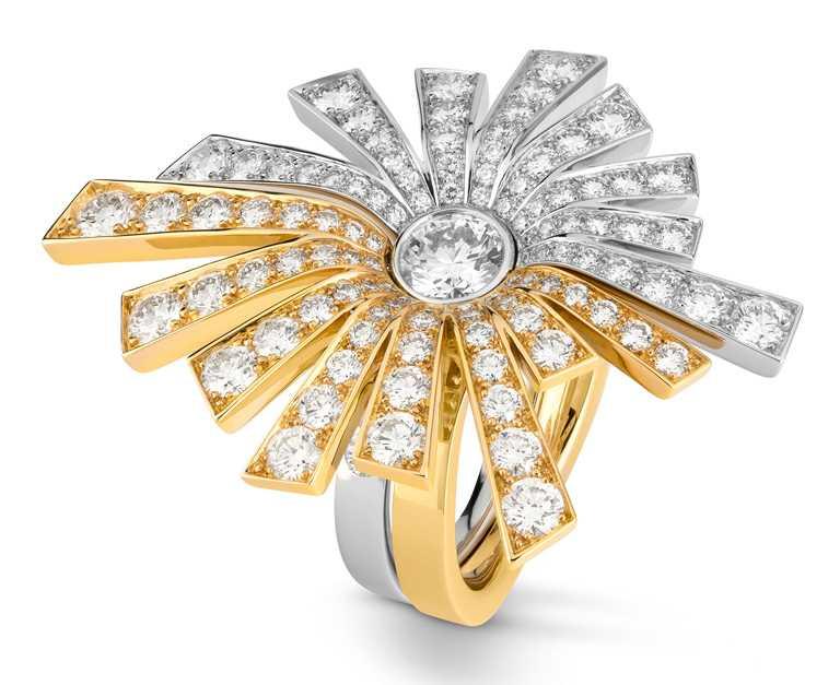 CHANEL「The Icons of 1932」系列高級珠寶,Soleil 18K白金及黃金鑽石戒指╱1,170,000元。(圖╱CHANEL提供)