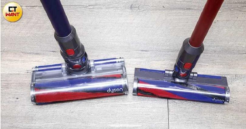 V8 Slim(右)隨附的輕量化軟質碳纖維滾筒吸頭厚度僅5公分,比V8(左)還薄。(圖/王永泰攝)