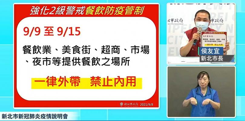 新北市長侯友宜宣布新北市相關疫情因應措施。(圖/翻攝自侯友宜臉書)