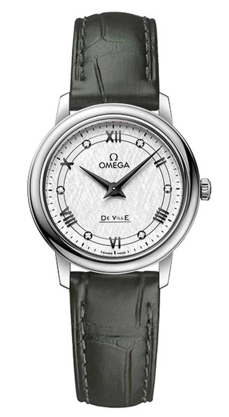 OMEGA「De Ville碟飛」系列,Prestige典雅腕錶,不鏽鋼錶殼,27.4mm,鑽石6顆╱90,000元。(圖╱omega提供)