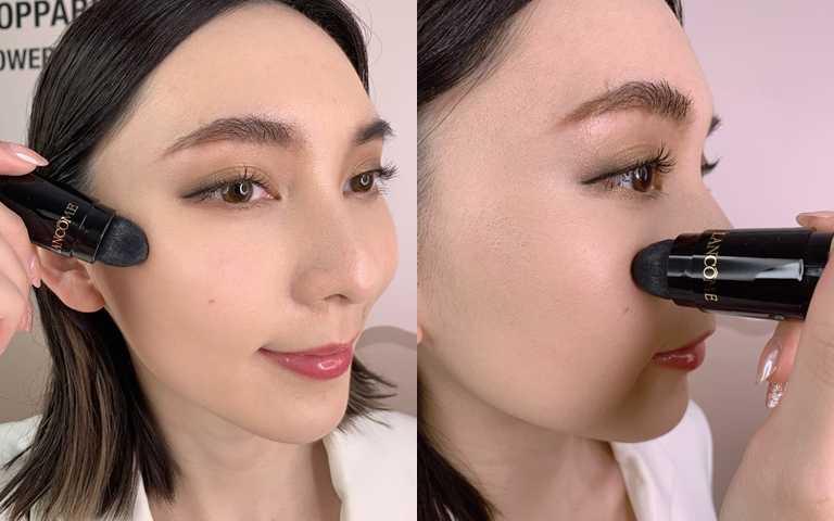一般時候用斜刷方式就OK,想加強修飾毛孔就直立拿取畫圓刷塗。(圖/吳雅鈴攝影)