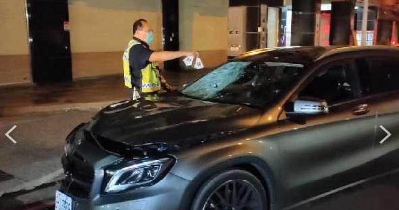 方男駕駛賓士車撞上黃暐瀚母親,酒測值超標。(圖/民眾提供)