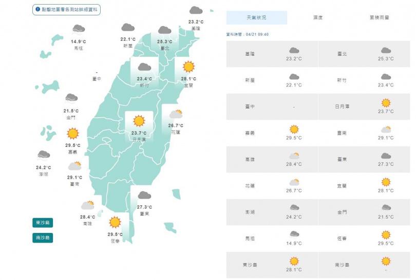 21日9時40分全台天氣。(圖/中央氣象局)