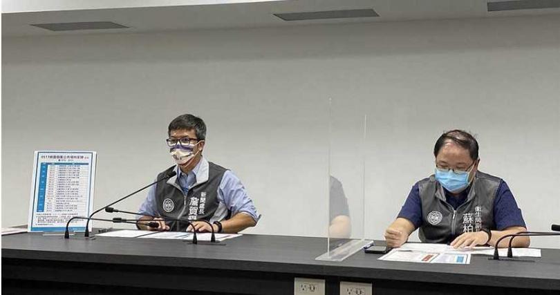 新聞處長詹賀舜和衛生局副局長蘇柏文說明疫調結果。(圖/蔡依珍攝)