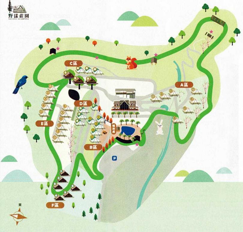 園區最外圍設有環山步道,全程走完約30分鐘,若在3、4月到場,晚間可欣賞滿山滿谷的螢火蟲。(圖/野漾莊園提供)