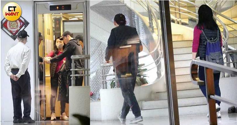 進入大廈後,王爸與王媽從旁邊的樓梯進入地下停車場,之後又走回1樓大廳,搭電梯上8樓。(圖/本刊攝影組)