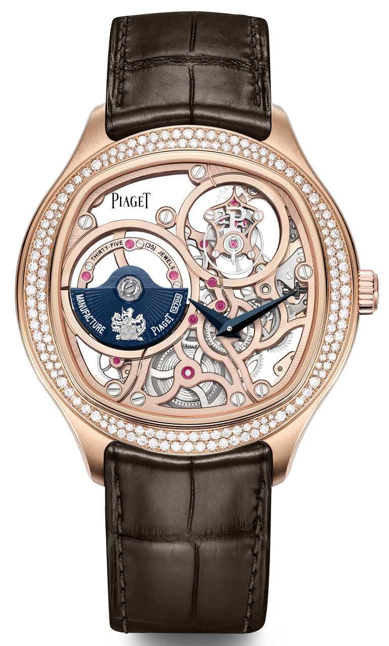 PIAGET「Polo Emperador系列」自動上鍊鏤空超薄飛行陀飛輪鑲鑽腕錶,玫瑰金款,限量8只╱9,350,000元。(圖╱PIAGET提供)
