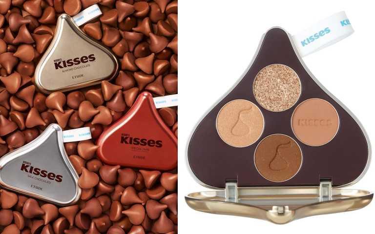 ETUDE'HERSHEY'S KISSES 玩轉色彩四色眼彩盤#Kisses水滴杏好有你/ 790 元(圖/品牌提供)