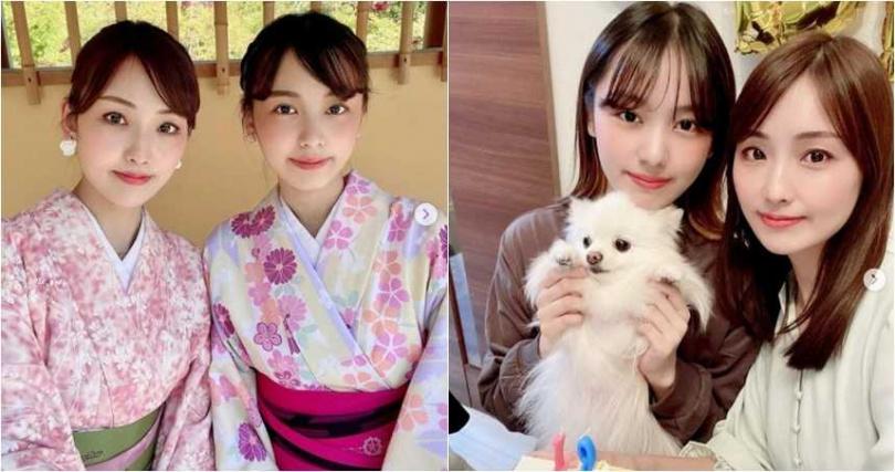 川端歩和女兒像姐妹,照片上分不出來誰才是媽媽。(圖/IG@ ayumi_kawabata_0822)