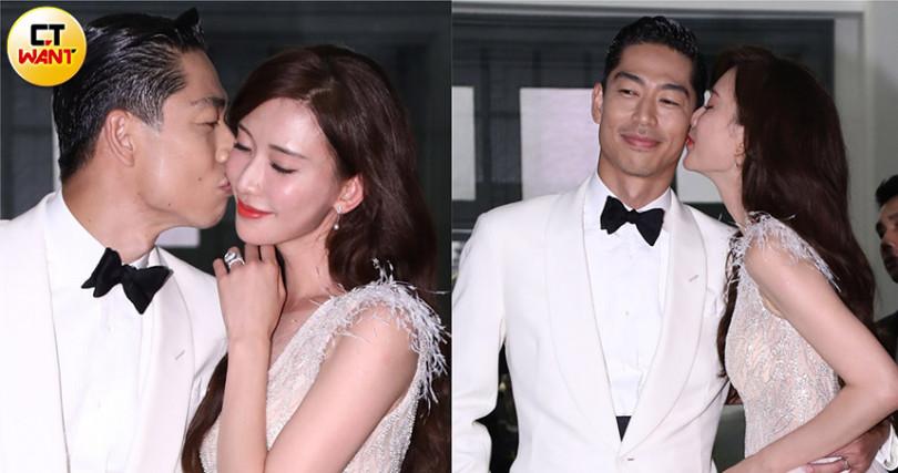 林志玲夫妻在現場媒體起哄之下,連吻兩次。(圖/彭子桓攝)