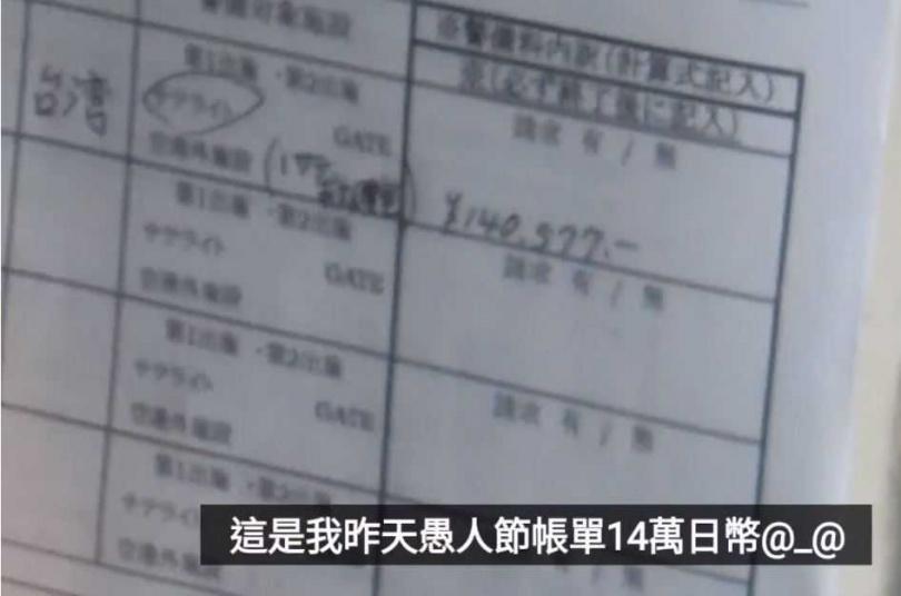 機場隔離一晚要價14萬日幣。(圖/翻攝 王伯任【我的人生、我的RPG】臉書)