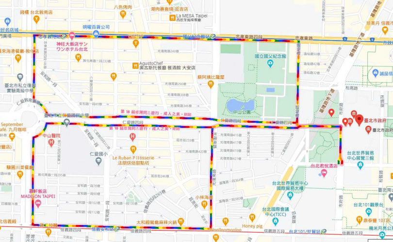 Google地圖今日也出現彩蛋「彩虹路線」。(圖/翻攝Google Maps)