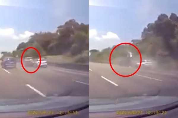 苗栗國道一號北上128.2公里一台休旅車遭追撞,結果失控飄向外側車道連續翻滾6圈,車身嚴重毀損。(圖/翻攝臉書《爆廢公社公開版》)