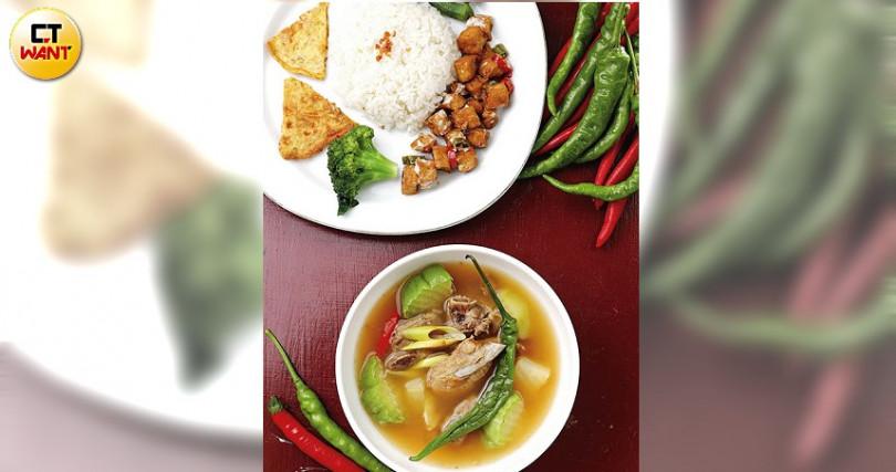 「香茅排骨湯」肉軟湯辣,綠椒、佛手瓜添清爽。附白飯、肉末煎蛋、美乃滋豆干等(220元)。(圖/于魯光攝)