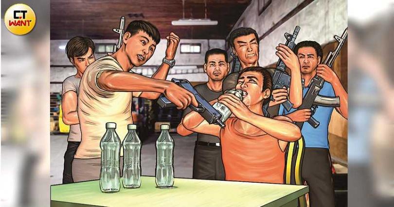 陳瑞霆在暴力討債時自創「水刑」,要求債務人1分鐘內喝掉2公升的礦泉水,喝不完就毒打一頓。(圖/本刊繪圖組)