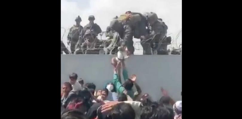 海軍陸戰隊發言人證實,嬰兒與父親已團聚。(圖/翻攝自推特/@OmarHaidari1)