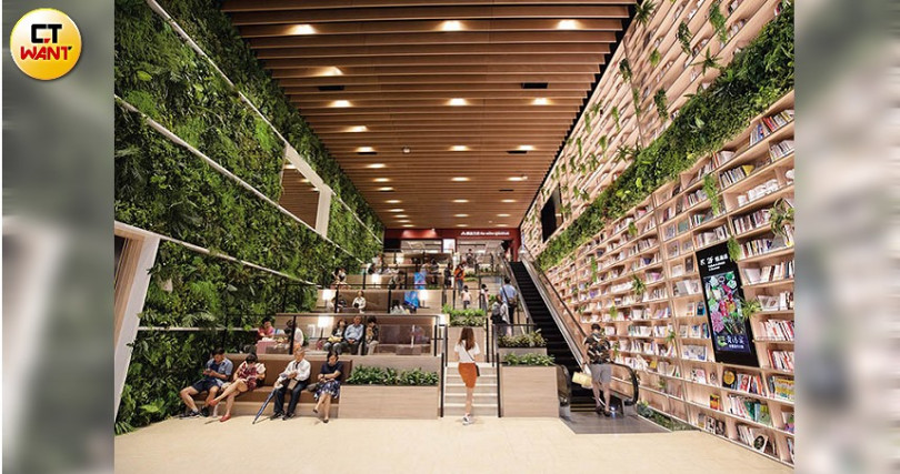 興富發在高雄市開設的社區商場「悅誠廣場」7月開幕,一樓15米巨型書牆成為打卡熱點。