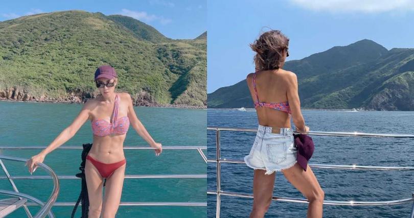 小禎在遊艇上曬川字腹肌、緊實曲線。(圖/翻攝自臉書/胡小禎)