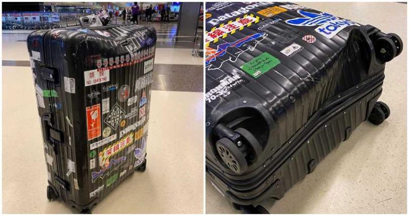 行李箱多處凹陷,相當誇張。(合成圖/陳勢安 Andrew Tan臉書)