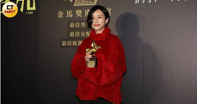 法蘭獲「最佳原創音樂」,她打算把獎座和金馬電鍋寄回家給爸媽。(圖/焦正德攝)