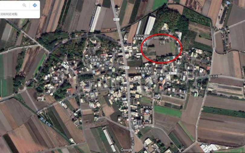 許姓老翁位在二林鎮農地,依公告地價現值約每平方公尺1300元,根據土地實價交易行情,每分地至少在200萬元至220萬元之間。(圖/摘自google map)