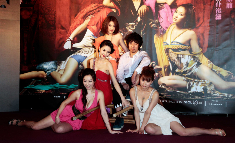 《3D肉蒲團之極樂寶鑑》電影首映會。圖為雷凱欣(左起)、藍燕、石詠莉、葉山豪、周防雪子。(圖//報系資料照)