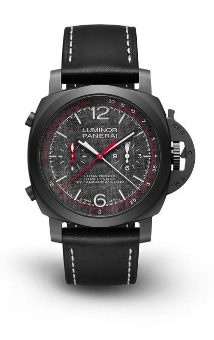 PANERAILuminor Luna RossaChrono Flyback/陶瓷錶殼,錶徑44mm/P.9100自動上鍊機芯,儲能3天/小三針,飛返計時,秒針歸零/防水100米/定價:550,000元(圖/沛納海提供)