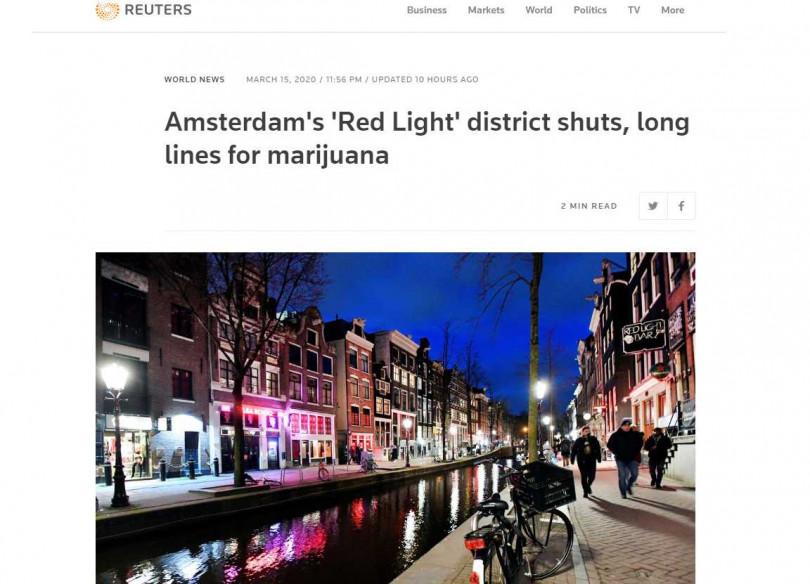 荷蘭人排隊搶買大麻,成紅燈區「最奇特囤貨」。(圖/Reuters)