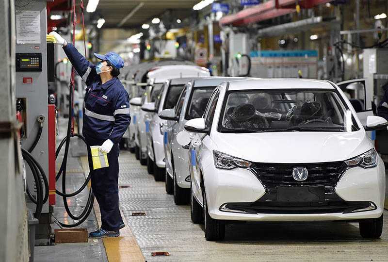 位在安徽省合肥市高新區的長安汽車,2月26日已復工,但產能尚未恢復正常。(圖/新華社)