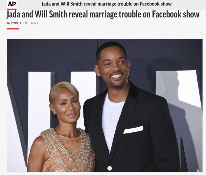 潔達蘋姬史密斯當面向威爾史密斯坦承婚外情。(圖/AP)