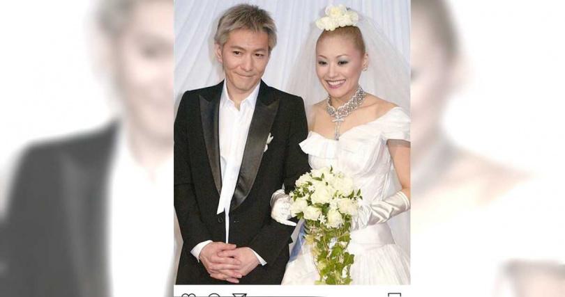 小室哲哉與KEIKO結婚照。(圖/取自日本粉絲推特)