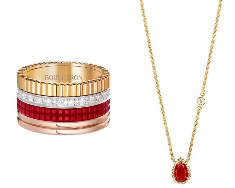 Boucheron「Quatre Red」系列,(左)黃金、玫瑰金、白金及紅色陶瓷鋪鑲鑽石指環╱264,000元;(右)「Serpent Bohème」系列,鑲嵌單顆鑽石及紅玉髓黃金材質吊墜╱51,000元(圖片提供╱Boucheron)