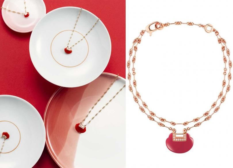 Qeelin「Yu Yi」系列,(左)18K玫瑰金鑽石及紅瑪瑙小型項鍊╱112,100元;中型項鍊╱148,600元;(右)雙手鍊╱88,200元(圖片提供╱Qeelin)