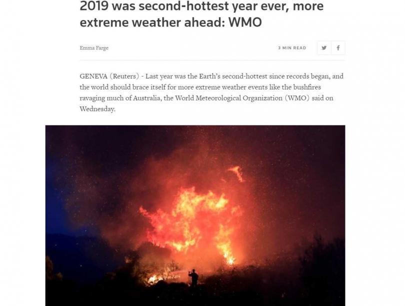 極端氣候造成澳洲引發嚴重野火。(圖/翻攝自Reuters)