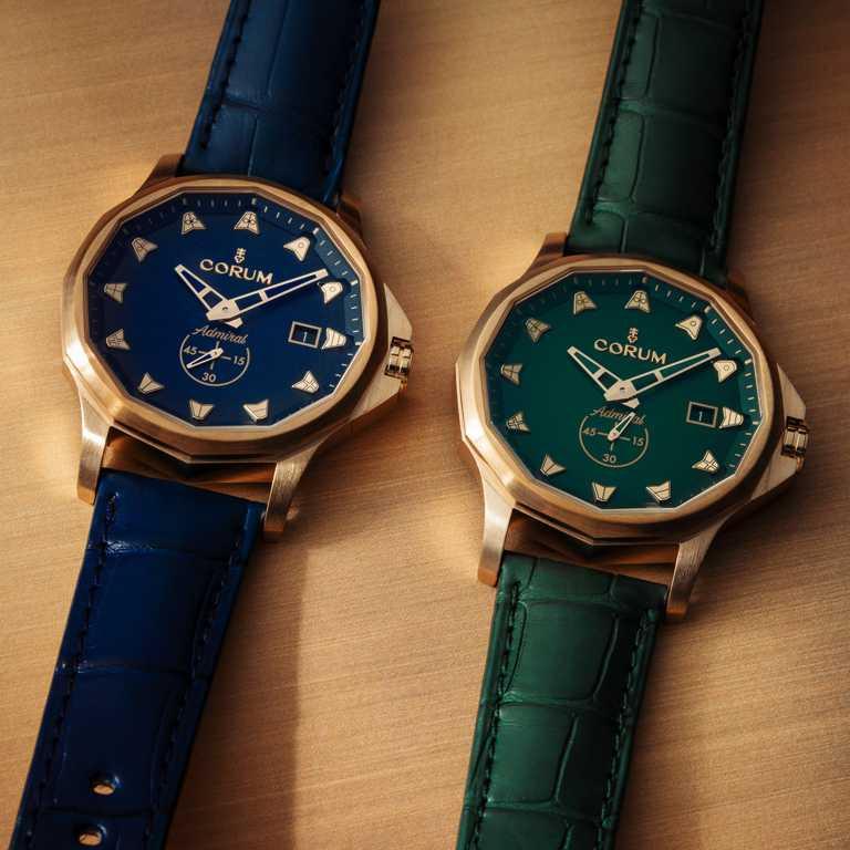 CORUM「Admiral 42 Automatic Bronze」海軍上將系列青銅腕錶,(左)海軍藍、(右)海洋綠款╱163,000元。(圖╱CORUM提供)
