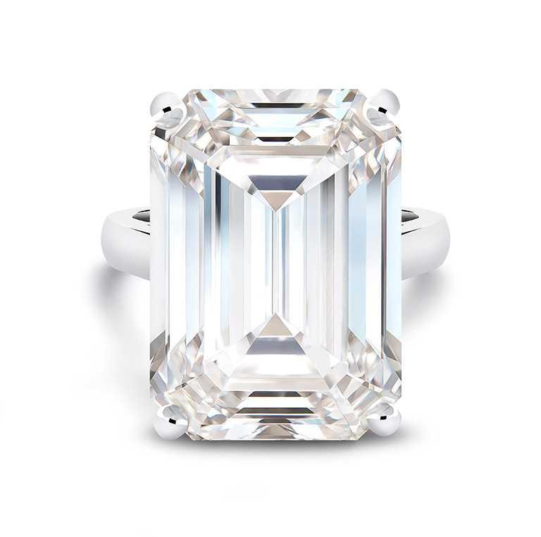 DE BEERS高級珠寶,鉑金祖母綠式切割鑽石戒指,主鑽26.07克拉╱價格店洽。(圖╱DE BEERS提供)