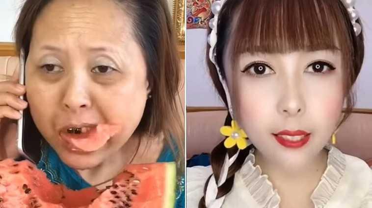 啃西瓜大媽妝前和妝後的差異。(圖/翻攝自《2ch》)