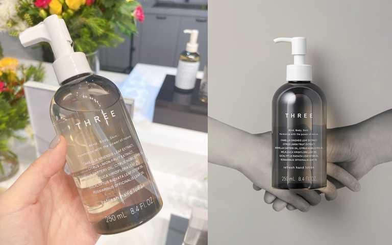 THREE植萃防護乾洗手,天然由來成分99% 250ml/1,600元。