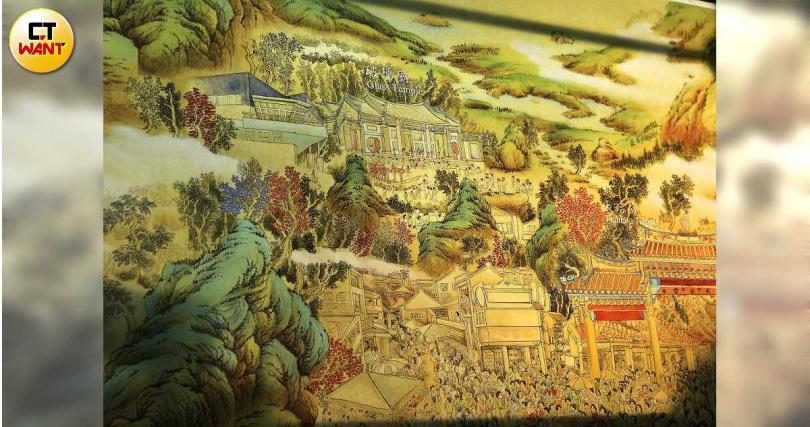 工筆水墨畫「台灣豐韻圖」躍然玻璃之上,帶出台灣各地景致。(圖/于魯光攝)