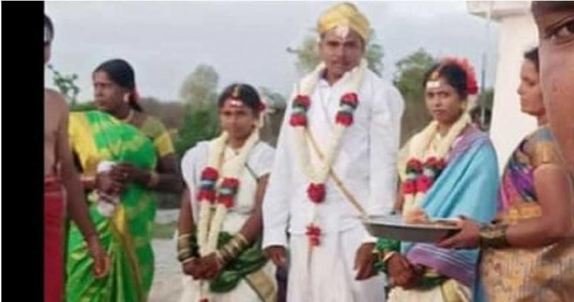 印度一名31歲男子同時娶了21歲與16歲親姪女。(圖/翻攝自推特)