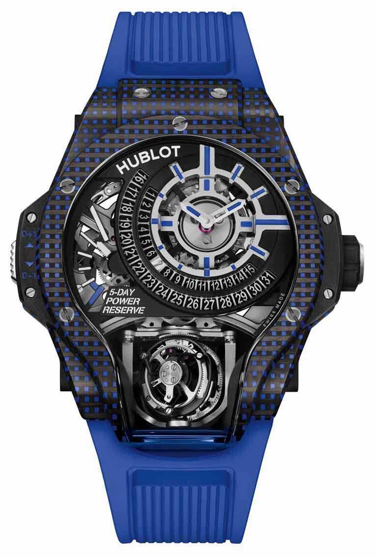 HUBLOT「MP-09」雙軸陀飛輪3D彩色碳纖維腕錶,49mm,藍色碳纖維錶殼,限量8只╱6,213,000元。(圖╱HUBLOT提供)