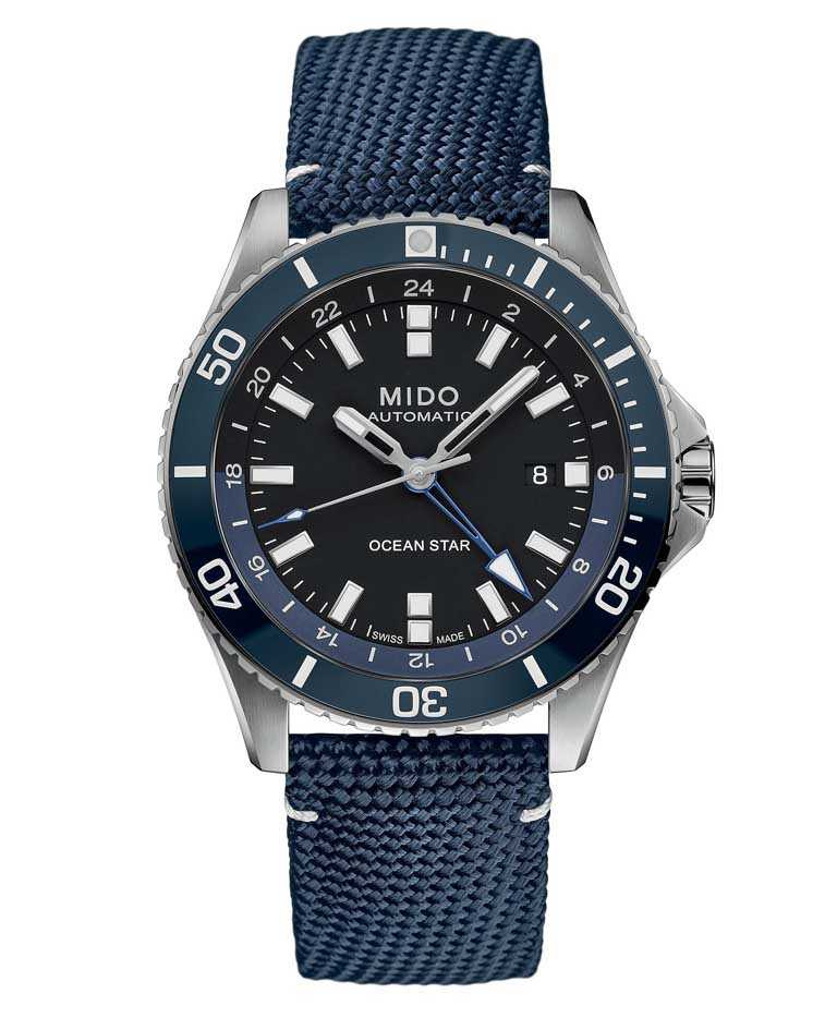 MIDO「Ocean Star GMT海洋之星兩地時區腕錶」,不鏽鋼錶殼,44mm╱37,300元。(圖╱MIDO提供)