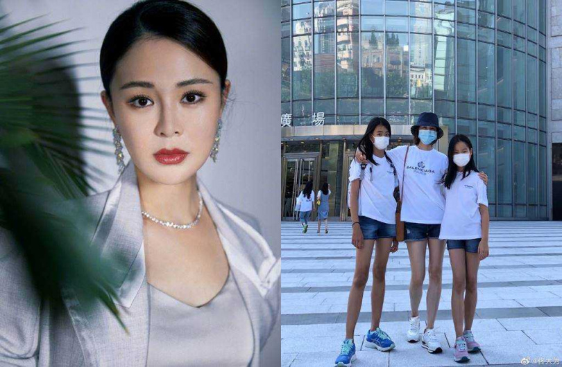 The 42-year-old Guan Yue is well-maintained and active in the entertainment industry. Tong Dawei often posts photos of her two daughters on Weibo.  (Picture/Flip from Weibo)
