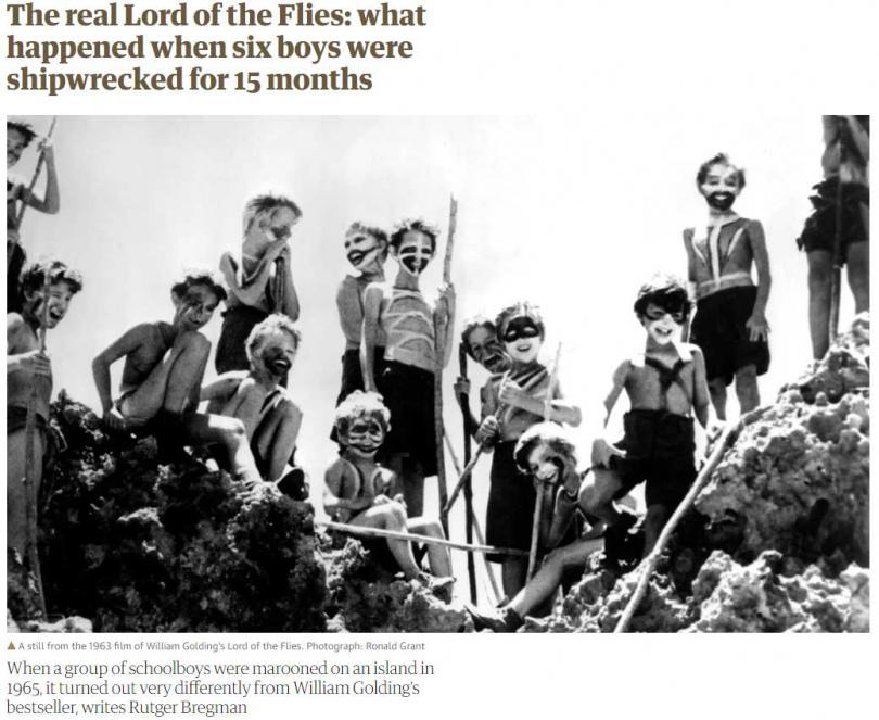 小說家威廉高汀1954年出版的《蒼蠅王》情節,真實在太平洋島上上演!(圖/The Guardian)