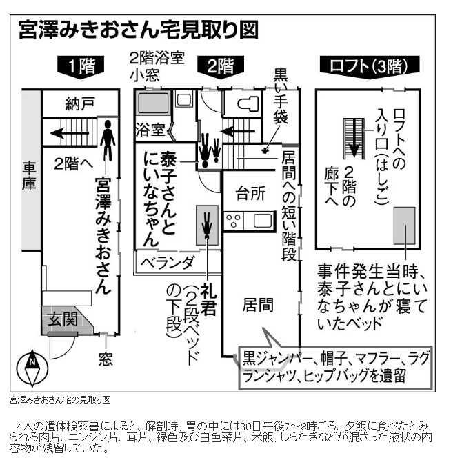 日本警方有公布兇案現場平面圖。(圖/朝日新聞)